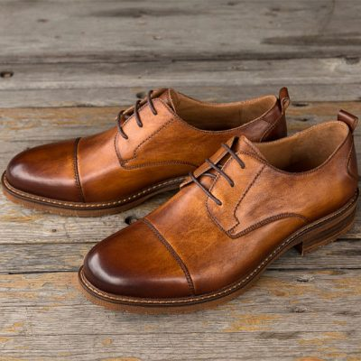 Mens Handmade Leather Oxford Dress Shoes Formal Lace up Shoes