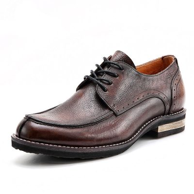 Men's Handmade Leather Modern Classic Lace up Leather Lined Perforated Derby Shoes-Brown
