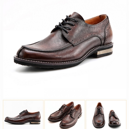 Men's Handmade Leather Modern Classic Lace up Leather Lined Perforated Derby Shoes-Brown-Details