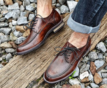 Men's Handmade Leather Modern Classic Lace up Leather Lined Perforated Derby Shoes-Brown-Display