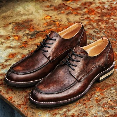 Men's Handmade Leather Modern Classic Lace up Leather Lined Perforated Derby Shoes-Display
