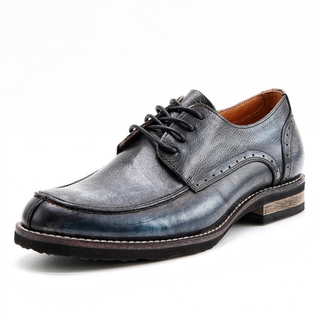 Men's Handmade Leather Modern Classic Lace up Leather Lined Perforated Derby Shoes-Navy blue