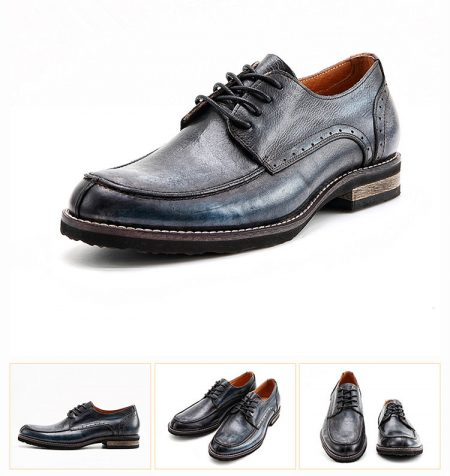Men's Handmade Leather Modern Classic Lace up Leather Lined Perforated Derby Shoes-Navy blue-Details