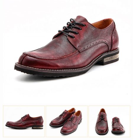 Men's Handmade Leather Modern Classic Lace up Leather Lined Perforated Derby Shoes-Red-Details