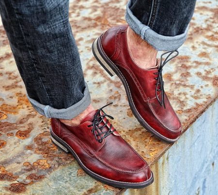Men's Handmade Leather Modern Classic Lace up Leather Lined Perforated Derby Shoes-Red-Display