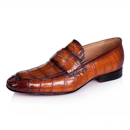 Alligator Leather Penny Slip-On Leather Lined Loafer-Tan