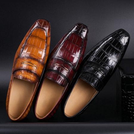Alligator Leather Penny Slip-On Leather Lined Loafer for Men