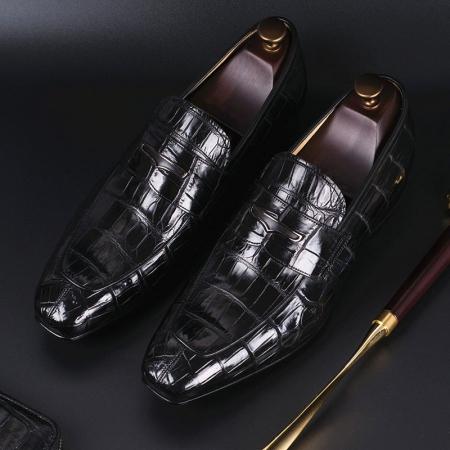Alligator Leather Penny Slip-On Leather Lined Loafer for Men-Black