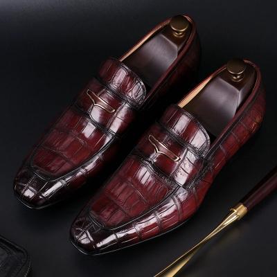 Alligator Leather Penny Slip-On Leather Lined Loafer for Men-Burgundy