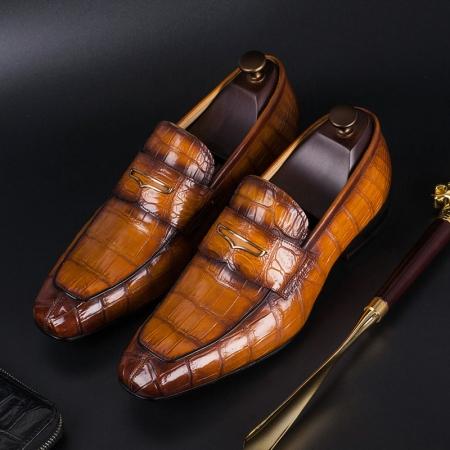 Alligator Leather Penny Slip-On Leather Lined Loafer for Men-Tan