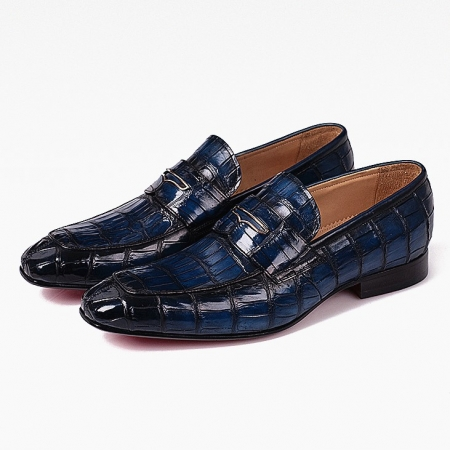 Men's Handcrafted Alligator Leather Penny Slip-On Leather Lined Loafer-Blue
