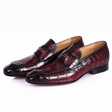 Men's Handcrafted Alligator Leather Penny Slip-On Leather Lined Loafer-Burgundy