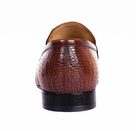 Men's Handcrafted Alligator Leather Penny Slip-On Leather Lined Loafer-Burgundy-Heel