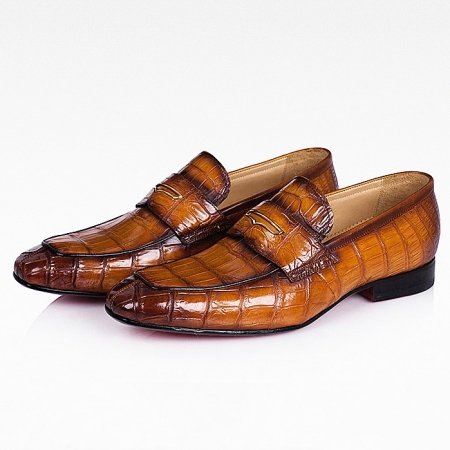 Men's Handcrafted Alligator Leather Penny Slip-On Leather Lined Loafer-Tan
