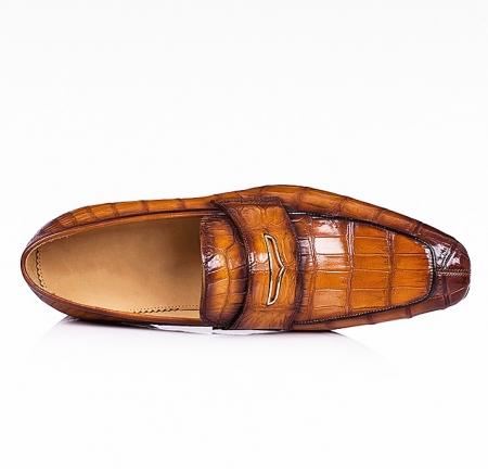 Men's Handcrafted Alligator Leather Penny Slip-On Leather Lined Loafer-Upper