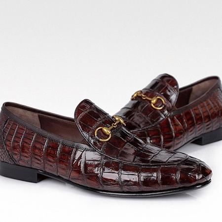 Alligator Bit Slip on Loafers Slip-on Shoes for Men-Burgundy