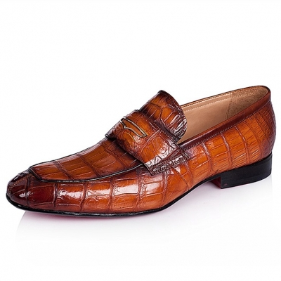 Alligator Leather Penny Slip-OnLeather Lined Loafers