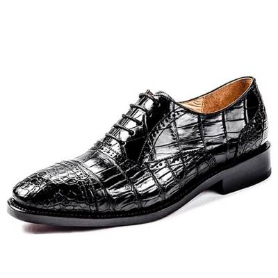 Alligator Skin Cap-Toe Oxford Business Dress Shoes