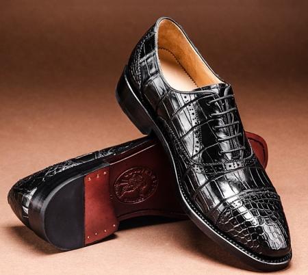 Alligator Skin Cap-Toe Oxford Formal Business Dress Shoes-1