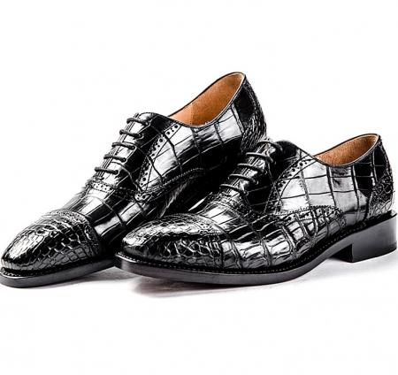 Alligator Skin Cap-Toe Oxford Formal Business Dress Shoes-Black