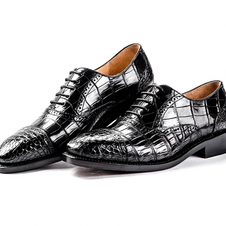 Alligator Skin Cap-Toe Oxford Formal Business Dress Shoes-Black