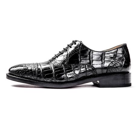 Alligator Skin Cap-Toe Oxford Formal Business Dress Shoes-Side