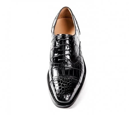 Alligator Skin Cap-Toe Oxford Formal Business Dress Shoes-Upper