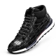 Casual Comfort Alligator Lace-up Lightweight Sport Sneakers-Black
