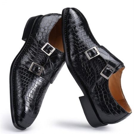 Classic Alligator Leather Double Monk Strap Shoes for Men
