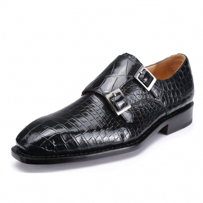 Classic Mens Alligator Leather Double Monk Strap Shoes