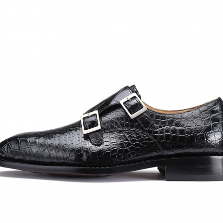 Classic Mens Alligator Leather Double Monk Strap Shoes-Side