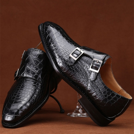 Mens Alligator Leather Double Monk Strap Shoes
