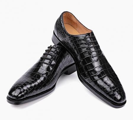 Mens Premium Alligator Oxford Lace-up Dress Shoes-1