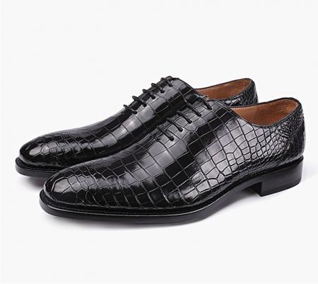 Mens Premium Alligator Oxford Lace-up Dress Shoes-2