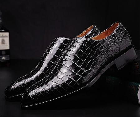 Mens Premium Alligator Oxford Lace-up Dress Shoes-4