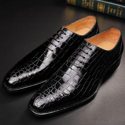 Mens Premium Alligator Oxford Lace-up Dress Shoes