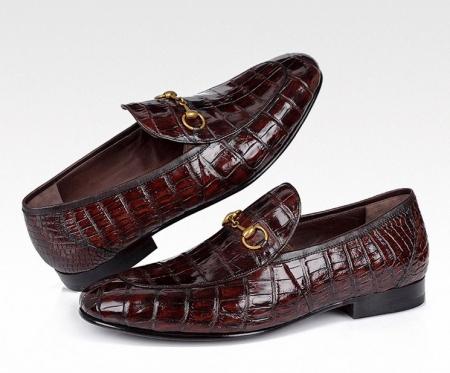 Premium Alligator Bit Slip on Loafers Slip-on Shoes-Burgundy