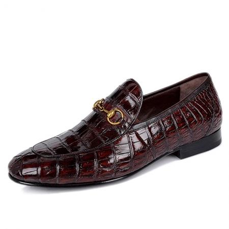 Premium Alligator Bit Slip on Loafers Slip-on Shoes for Men-Burgundy