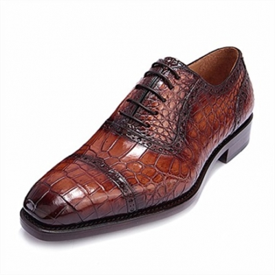 Alligator Cap Toe Oxford Formal Lace-up Dress Shoes