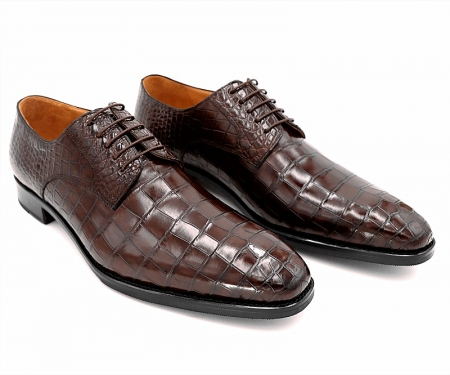 Classic Alligator Leather Derby Perforated Lace-Up Dress Shoes-1