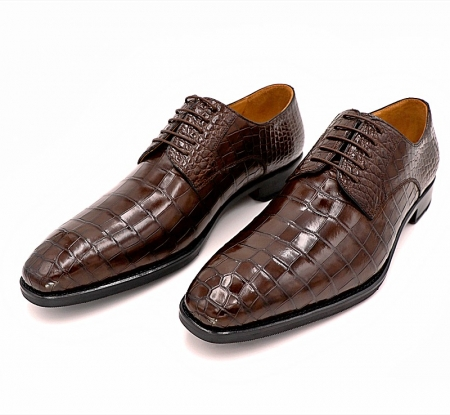 Classic Alligator Leather Derby Perforated Lace-Up Dress Shoes-2