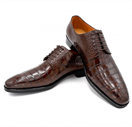 Classic Alligator Leather Derby Perforated Lace-Up Dress Shoes-3