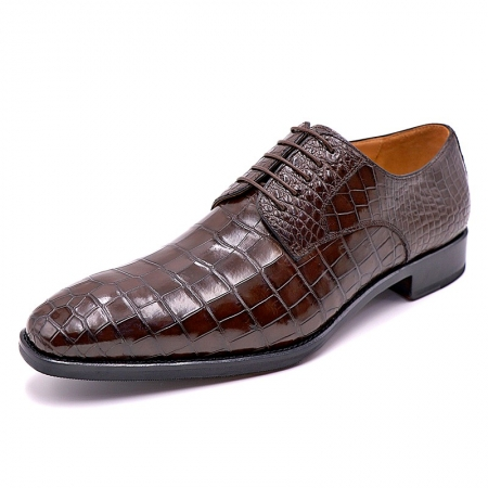 Classic Alligator Leather Derby Perforated Lace-Up Dress Shoes