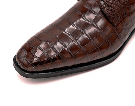Classic Alligator Leather Derby Perforated Lace-Up Dress Shoes-Toe