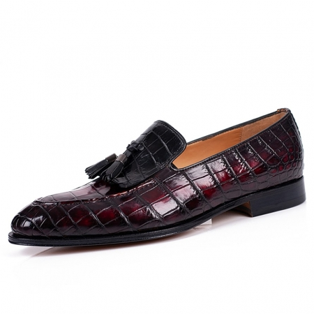 Handcrafted Men's Alligator Tassel Loafer Slip-On Shoes