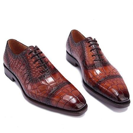 Modern Alligator Cap Toe Oxford Formal Lace-up Dress Shoes-1