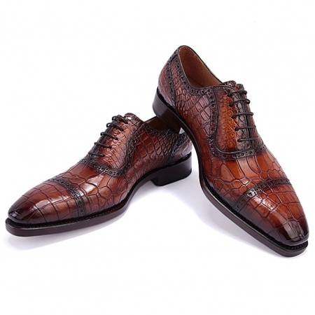 Modern Alligator Cap Toe Oxford Formal Lace-up Dress Shoes Brown-1