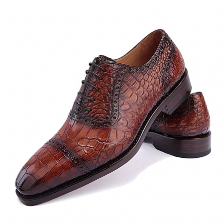 Modern Alligator Cap Toe Oxford Formal Lace-up Dress Shoes-Brown