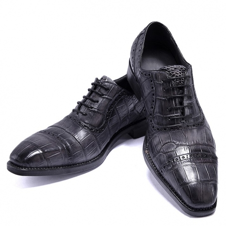 Modern Alligator Cap Toe Oxford Formal Lace-up Dress Shoes-Gray-2