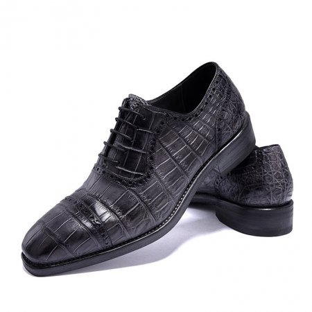 Modern Alligator Cap Toe Oxford Formal Lace-up Dress Shoes-Gray